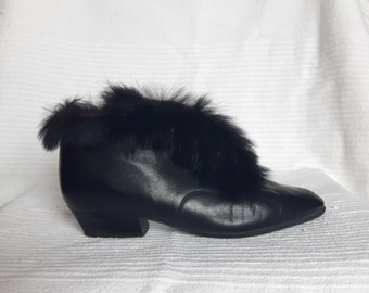 Vintage Black Fur Ankle Boots - Fur Trim Leather Booties - Genuine Leather - EU 36 US 5.5 UK 3.5 - Faux Vegan Fur