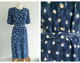 Vintage Polka Dot Tea Dress - Blue Spotty Summer Dress - Button Through Shirt Dress - 40s 50s style