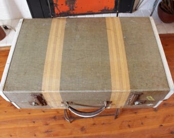 Vintage Striped Suitcase,  Sydney Tweed Suitcase, Photo Prop