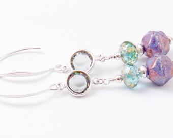Lavender Earrings Sterling Silver Earrings Opaque Lavender Czech Glass Earrings Long Boho Style Earrings