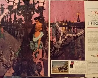 Paris Passion Eternal City & Couple in Love.  Illustrated travel mag poster.  B.Peak Illustrator Iconic.  60s Honeymoon.  2 pps. Ready Frame