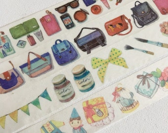 1 Roll of Limited Edition Washi Tape: Makeup Collection, Color Bags,Painting Tools and Brushes, or Lovely Things