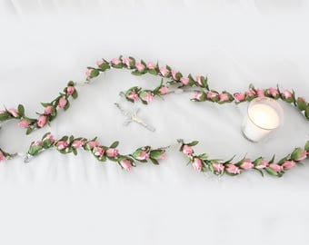 Pink rose rosary, Wedding rosary, Wedding chaplet, Flowers rosary, Catholic chaplet. Pink rosary, Religious bouquet rosary, Bridal rosary