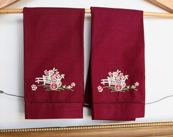 Tea Towels Set - Two Tea Towels Vintage - Hand Towels - Hand Embroidered - Handmade Maroon with Embroidered Flowers - Hand Towels - Vintage