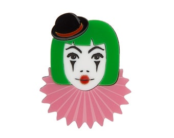 Clown Brooch - laser cut acrylic