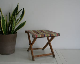 SUMMER SALE 30% OFF!!  Mid century collapsing folding stool / chair