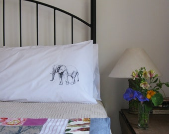 Pillow cases, Set of Two, hand printed, elephants