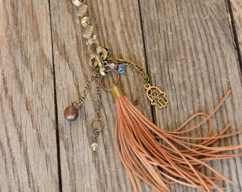 Kuchi Necklace/Boho Style/ Bohemian Necklace/Hamsa Charm/Long Necklace/Tassel Necklace/Leather Tassel Necklace/Festival Jewelry