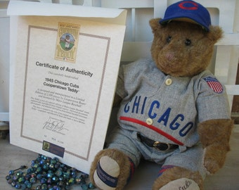 Chicago Cubs Cooperstown Bear 1945 Uniform Has Certificate Authenticity CUBS WIN Vintage Souvenir 2016 World Series Champions