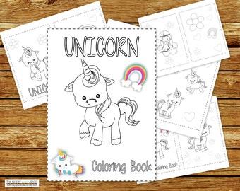 Unicorn Coloring Book Printable   Unicorn Birthday Party Coloring Book   Coloring Book Party Favor   Instant Download PDF