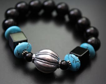 Turquoise and onyx bracelet sterling silver Native American style bead focal bracelet boho tribal stretch bracelet Bali sterling bracelet