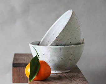 Made to Order -White and Light Green Potttery - Ceramic Stoneware Soup Bowls - Asian Flair -  Modern Pottery - Single serving or Rice bowl