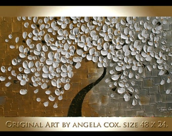 Original   Modern Gold Silver White Flowers  Tree  Acrylic  Impasto Textured  Palette Knife Painting.