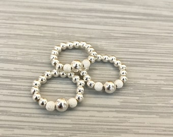 Sterling Silver Stack Ring - Mid Ring, Bead Ring, Stretch Ring, Stack Ring, Sterling Silver, Bead Ring, Modern Ring, Simple, Jewellery