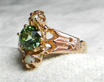 Green Garnet Ring Victorian Green Garnet Engagement Ring Seed Pearl Ring 14K Rose Gold 1.5 Ct Antique Green Garnet Aesthetic Period