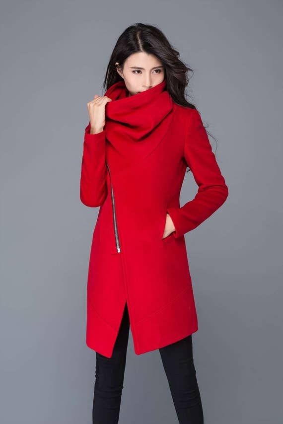 Modern Wool red Coat with Asymmetrical Front Zipper and Large Cowl Neck Collar - Women Autumn Winter Outerwear   C1025