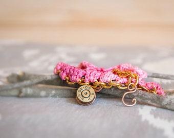 Crochet and Chain Bullet Charm Bracelet (225)