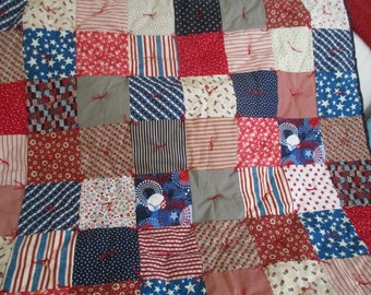 Americana Red White and Blue Baby Quilt Hand tied