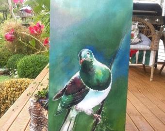 New Zealand KERERU Bird (native Wood Pigeon), OUTDOOR Wall ART Panel from original silk painting, Garden Art,  Large Size, 68cm x 30cm