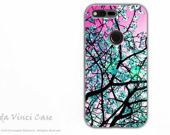 Pink and Green Tree Blossom Google Pixel Tough Case - Dual Layer Protection - Aqua Blooms - Floral Pixel Case