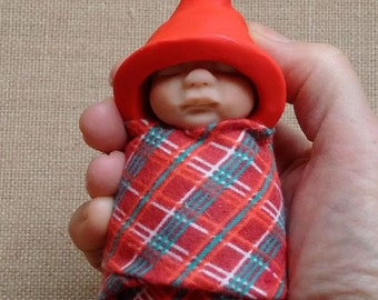 Clay BABY: Sleeping Baby, Red Elf Hat, Plaid Swaddling Cloth, Original, OOAK Sculpture, Midwife or Doula Gift Idea, New Baby
