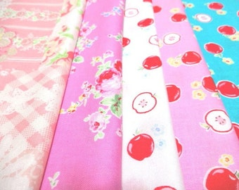 SALE Japanese Fabric Flower Strawberry FQ 5Pices L2