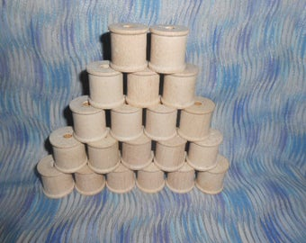 Twenty Wooden Thread Spools