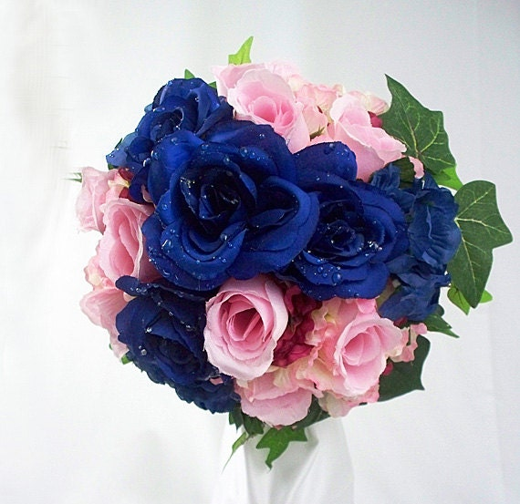 navy blue wedding flowers items similar to bridesmaid flower bouquets blue and pink 6124