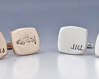 Personalized Cufflinks Gone Fishing Cufflinks Hand Stamped Monogram Cufflinks Groomsman Gift Personalized Wedding Cufflinks