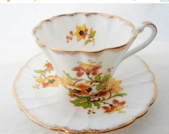 ON SALE Vintage, Teacup, Gladstone, Fine Bone China, England, Tea Cup and Saucer, Flowers, Orange, Yellow, Green, Gold, Collectibles, Floral
