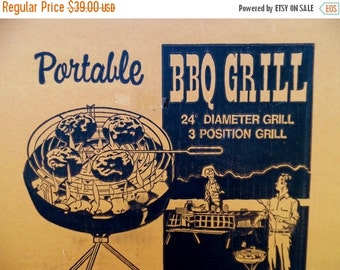 ON SALE 1970's, Vintage, Charcoal Grill, Portable, Large, Picnic Supplies, NOS, Marsh Allan Products Inc, Usa, Bbq, Barbecue Grill, Bar B Q
