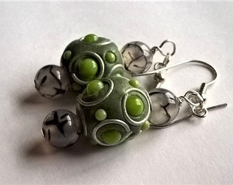 Dangle Earrings: Green and Grey Kashmiri Beads with Grey and Black Agate Beads & Surgical Steel Earring Hooks