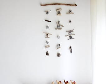 Driftwood Wall Hanging with Felt Pebbles / Rocks / Stones -- Interior Design Mobile -- Patio / Balcony Decor -- Ready to Ship