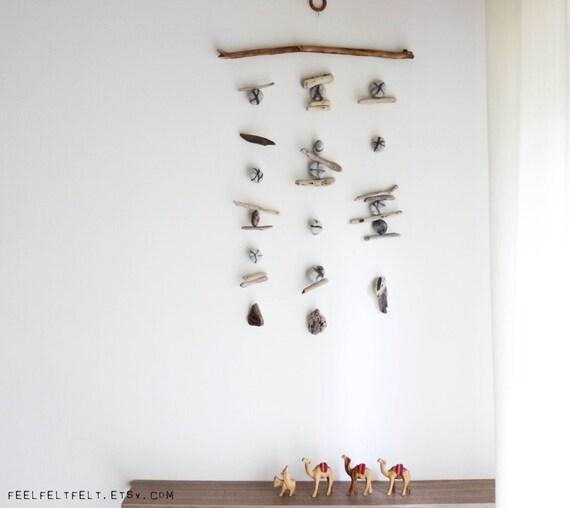 Driftwood Wall Hanging with Felt Pebbles / Rocks / Stones -- Interior Design Mobile -- Patio / Balcony Decor -- Ready to Ship