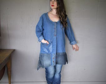 upcycled denim tunic jacket wearable art clothing recycled shirt Large XL repurposed fun clothes sustainable clothing LillieNoraDryGoods