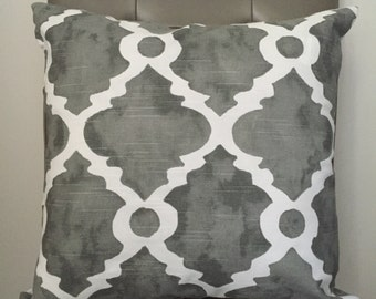 Pillow Cover,  Throw Pillow, Decorative Pillow Cover, Sofa Pillow, Cushion, Pillow Case, Grey White, Moroccan Pattern