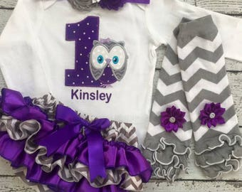 First Birthday outfit/ Owl Birthday/CakeSmash/PhotoProp/Gray Purple Owl/Purple Bloomer/BabyBloomers/1st Birthday/Owl Outfit