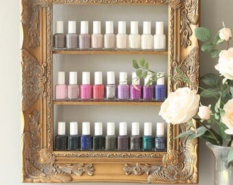 Gold Gilded Shabby Chic Guilded Frame Custom Sized Decorative Nail Polish  Frame Rack Essential Oils Display