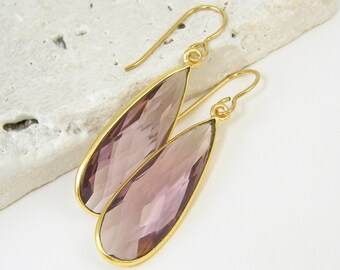 Amethyst Quartz Earrings, February Birthstone Earrings, Long Purple Gemstone Earrings, Amethyst Teardrop Earrings |DRW2
