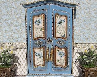 Wardrobe. Vintage cupboard. Design Handmade.  For doll House. 1:12 Scale