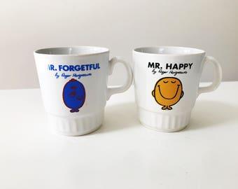 Set of 2 Vintage 1970s Kiln Kraft Mr Men Children's Mugs - Mr Happy & Mr Forgetful by Roger Hargreaves