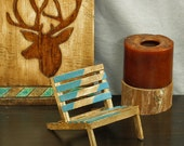Cell phone holder, turquoise mini pallet chair, phone stand, popsicle stick chair, miniature chair, post-it notes holder, business card