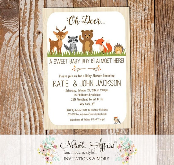 Baby Showers R Us Woodlawn ~ Rustic oh deer woodland animals vertical baby shower