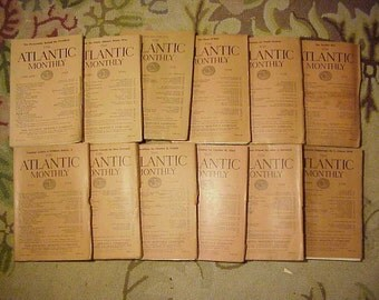 Full Year 1920 The Atlantic Monthly Magazines January - December published By Atlantic Monthly Boston, Antique Magazines with lots of Ads