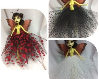 Your Choice of Felted Tutu Petticoat Skirt for your Monster High, Ever After High, Pullip, Obitsu - Polka Dot or Heart Pattern