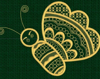 Machine Embroidery Design, Digitized Embroidery Design -Bee, Bumble Bee, Insect, Golden Bumble Bee