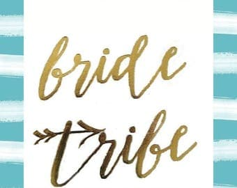 "bride tribe - set of 16 - temporary GOLD tattoo - 2"" x 2"" - bachelorette bridal party favor-bridesmaid tattoo-hen party"