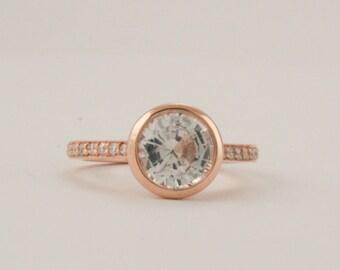 Round White Sapphire Bezel Diamond Engagement Ring in 14K Rose Gold