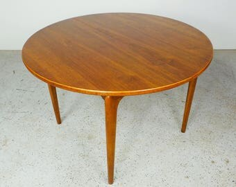 mid century modern Lane Perception walnut round dining table with leaf