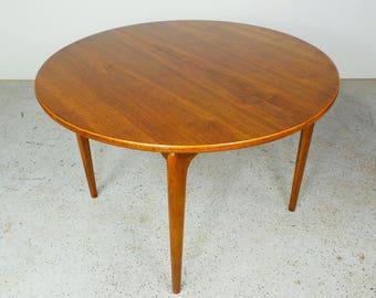mid century modern Lane Perception walnut round dining table with leaf